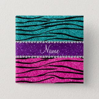 Custom name neon hot pink turquoise zebra stripes pinback button