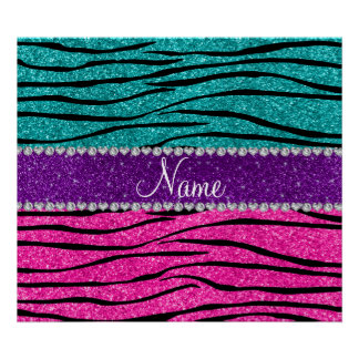 Custom name neon hot pink turquoise zebra stripes poster