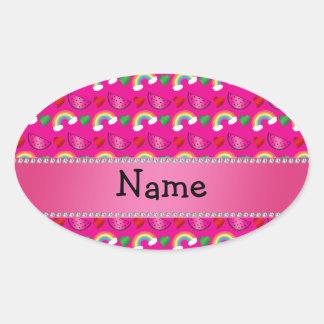 Custom name neon hot pink watermelons rainbows stickers