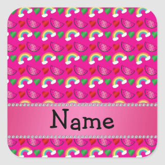 Custom name neon hot pink watermelons rainbows square sticker