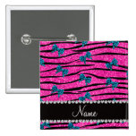 Custom name neon hot pink zebra stripes blue bows 2 inch square button