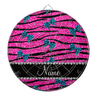 Custom name neon hot pink zebra stripes blue bows dartboard with darts