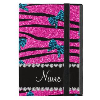 Custom name neon hot pink zebra stripes blue bows iPad mini case