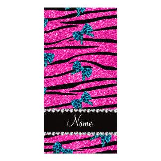 Custom name neon hot pink zebra stripes blue bows photo cards