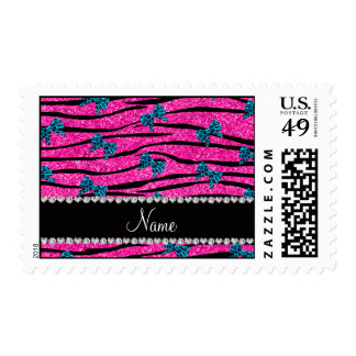 Custom name neon hot pink zebra stripes blue bows postage stamps
