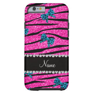Custom name neon hot pink zebra stripes blue bows tough iPhone 6 case