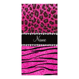 Custom name neon hot pink zebra stripes leopard custom photo card
