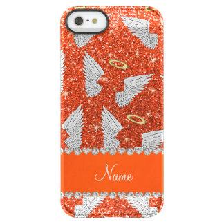 Custom name neon orange glitter angel wings uncommon permafrost® deflector iPhone 5 case