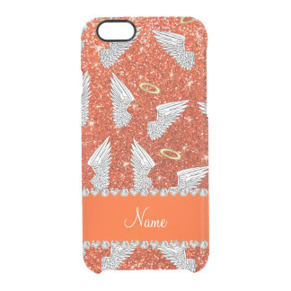 Custom name neon orange glitter angel wings uncommon clearly™ deflector iPhone 6 case