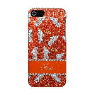 Custom name neon orange glitter angel wings incipio feather® shine iPhone 5 case