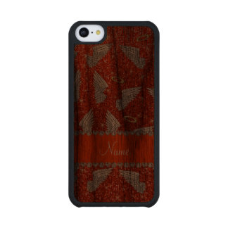 Custom name neon orange glitter angel wings carved® walnut iPhone 5C slim case