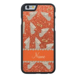 Custom name neon orange glitter angel wings carved® maple iPhone 6 slim case