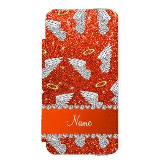 Custom name neon orange glitter angel wings incipio watson™ iPhone 5 wallet case