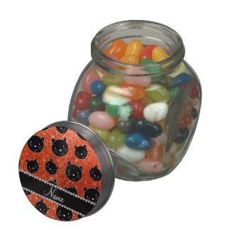 Custom name neon orange glitter black cat faces glass jars