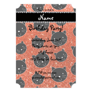 Custom name neon orange glitter black cat faces 5x7 paper invitation card