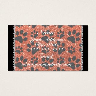 Custom name neon orange glitter black dog paws business card