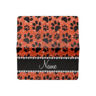 Custom name neon orange glitter black dog paws checkbook cover