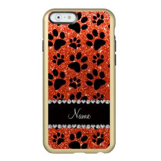Custom name neon orange glitter black dog paws incipio feather® shine iPhone 6 case