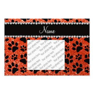 Custom name neon orange glitter black dog paws photographic print