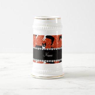 Custom name neon orange glitter boston terrier coffee mugs