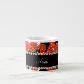 Custom name neon orange glitter boston terrier 6 oz ceramic espresso cup