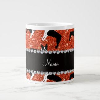 Custom name neon orange glitter boston terrier 20 oz large ceramic coffee mug