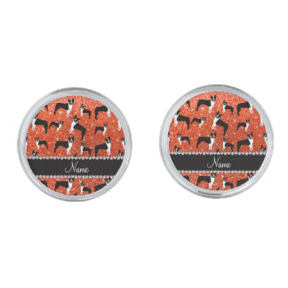 Custom name neon orange glitter boston terrier silver finish cufflinks