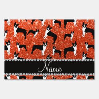 Custom name neon orange glitter boston terrier yard sign