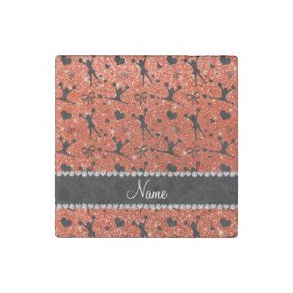Custom name neon orange glitter cheerleading stone magnet