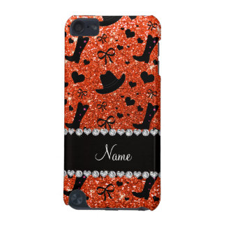 Custom name neon orange glitter cowboy boots hats iPod touch (5th generation) cover