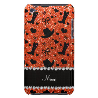 Custom name neon orange glitter cowboy boots hats iPod touch covers