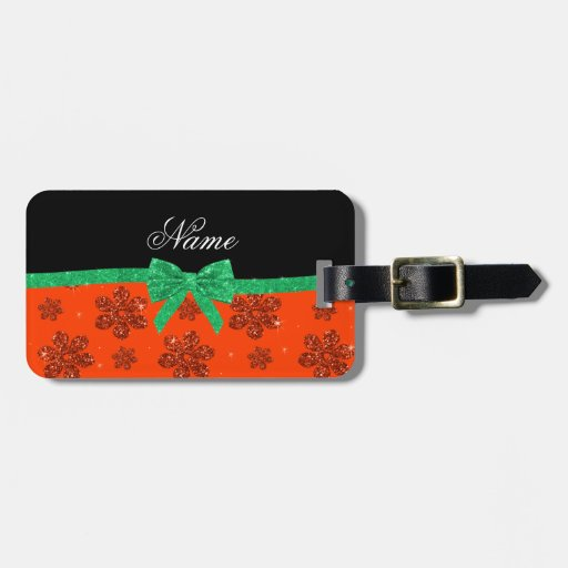 Custom name neon orange glitter flowers green bow bag tags