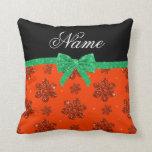 Custom name neon orange glitter flowers green bow throw pillow