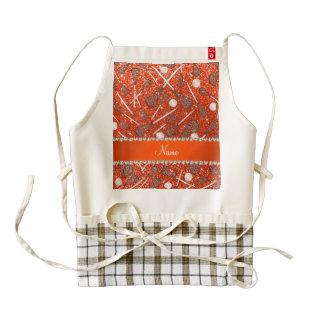 Custom name neon orange glitter lacrosse sticks zazzle HEART apron
