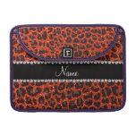 Custom name neon orange glitter leopard print sleeve for MacBooks