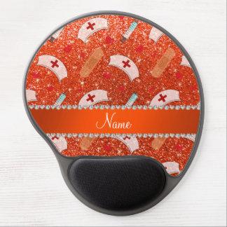 Custom name neon orange glitter nurse hats heart gel mouse pad
