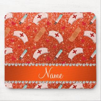 Custom name neon orange glitter nurse hats heart mouse pad