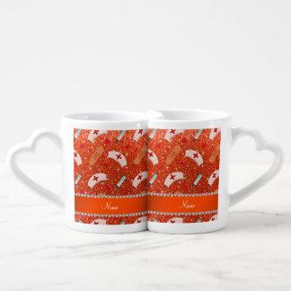 Custom name neon orange glitter nurse hats heart couples' coffee mug set