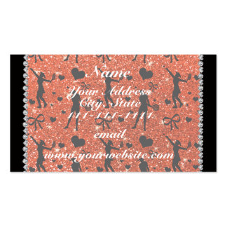 Custom name neon orange glitter tennis hearts bows Double-Sided standard business cards (Pack of 100)