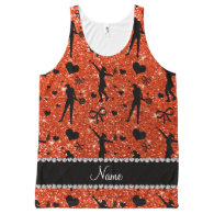 Custom name neon orange glitter tennis hearts bows All-Over print tank top