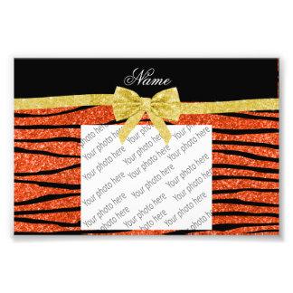Custom name neon orange glitter zebra stripes bow photo
