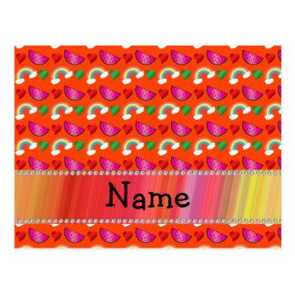 Custom name neon orange watermelons hearts rainbow post cards