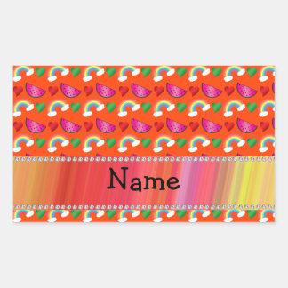 Custom name neon orange watermelons hearts rainbow rectangle sticker