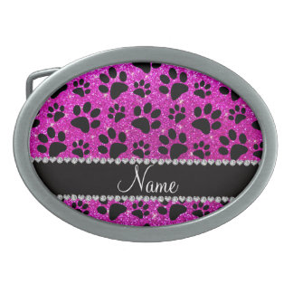 Custom name neon pink glitter black dog paws oval belt buckles