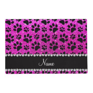 Custom name neon pink glitter black dog paws placemat