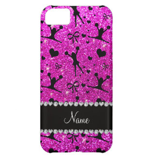 Custom name neon pink glitter cheerleading cover for iPhone 5C