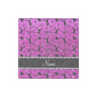 Custom name neon pink glitter cheerleading stone magnet