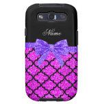 Custom name neon pink glitter moroccan purple bow samsung galaxy s3 cases