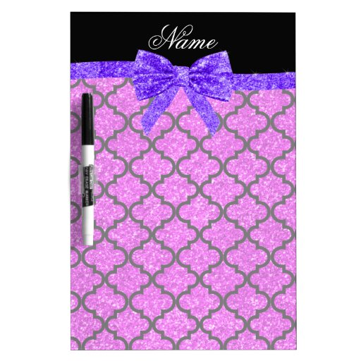 Custom name neon pink glitter moroccan purple bow Dry-Erase board