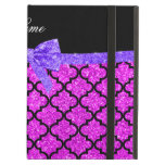 Custom name neon pink glitter moroccan purple bow iPad case